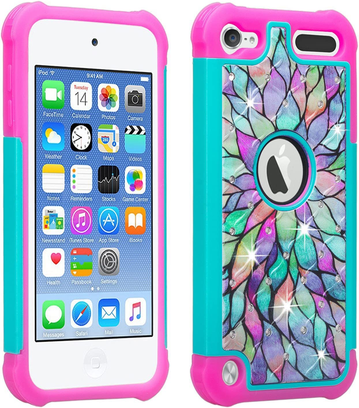 Wydan Compatible iPod Touch Case, Studded Hybrid Bling Diamond Shockproof Cover for Girls Kids - iPod Touch 7th, 6th, 5th Gen Generation Cover