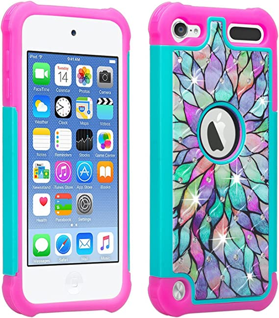 HYBRID IMPACT ARMOR CASE BLUE GREEN FLORAL PRINTS iPod Touch 5th 6th /& 7th Gen