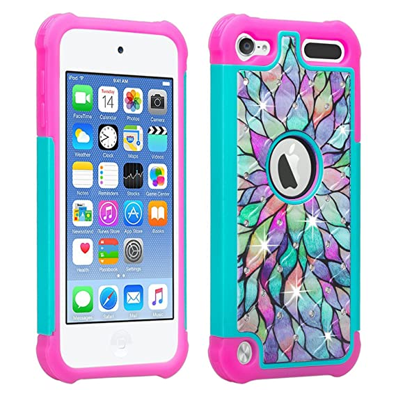 save off 2a3d0 230d9 Wydan iPod Touch Case for 7th 6th 5th Generation, Studded Bling Shockproof  Cover for Girls Kids