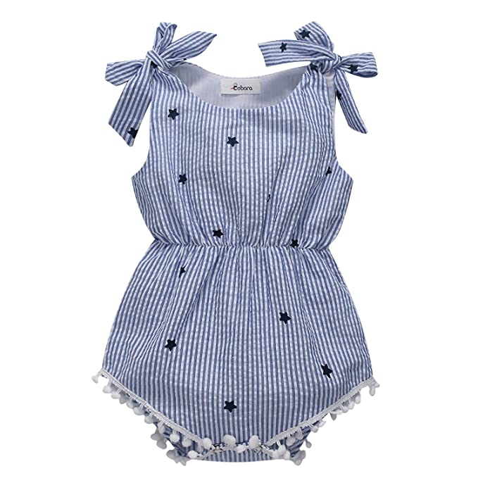 4f50a5d59ea1 BOBORA Newborn Baby Girls Rompers One-pieces Pompom Bow Jumpsuits  Sleeveless (S 60