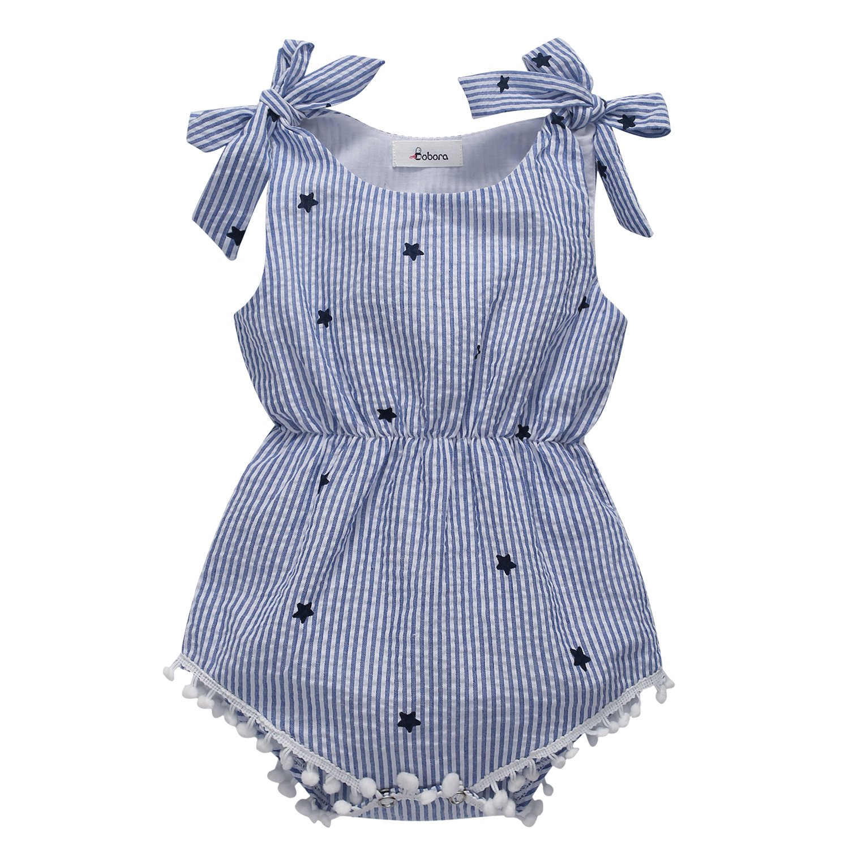 BOBORA Newborn Baby Girls Rompers One-pieces Pompom Bow Jumpsuits Sleeveless (M/75/6-12M, Blue Stripe)