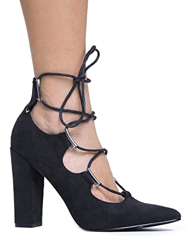 Amazon.com | Lace Up Pointed Toe Chunky Heel - Comfortable Block ...