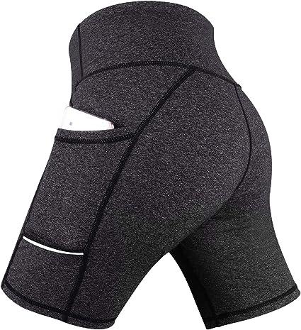 TALLA S. GRAT Pantalón Corto Deportivo para Mujer, Running Pantalones Cortos de Yoga con Bolsillo Lateral, Fitness Mallas Deportivas