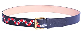 Yuangu Men's Coral Snake Print 38 Mm Italian Leather Belt by Yuangu