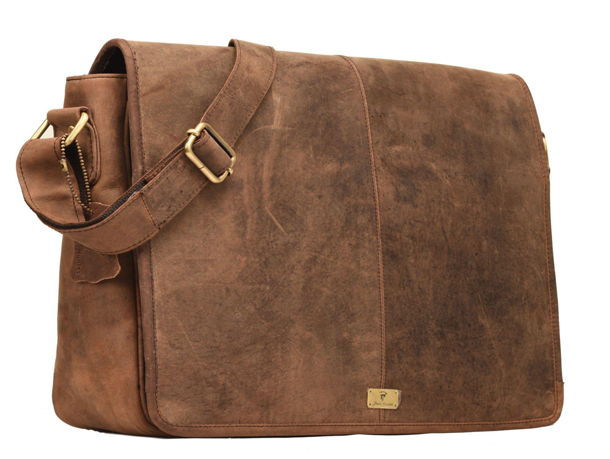 Devil Hunter DH Rohtaang Leather Messenger Bag for men/women Leather Laptop Messenger Briefcase Satchel Brown