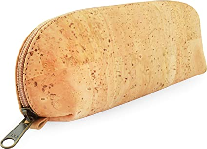 Vegan Eco friendly Cork pencil case in yellow and brown cork