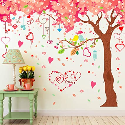 Amaonm® Giant Huge Pink Cherry Tree Wall Decals Cute Cartoon Removable Large  Tree Lovely Heart