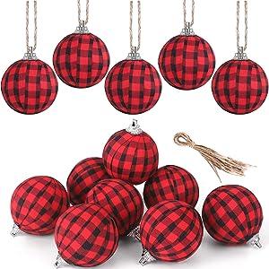 Fvviia Christmas Buffalo Plaid Fabric Ball Ornament Decorations Christmas Tree Hanging Ornaments Christmas Balls Decoration Holiday Party Xmas Decor (Red and Black-12 Pieces)