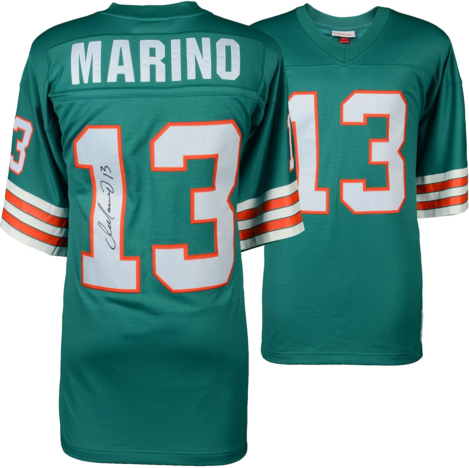 Dan Marino Miami Dolphins Autographed Mitchell & Ness Teal Replica Jersey - Autographed NFL Jerseys