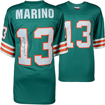 582e96c51 Image Unavailable. Image not available for. Color  Dan Marino Miami  Dolphins Autographed Mitchell   Ness Teal Replica Jersey ...