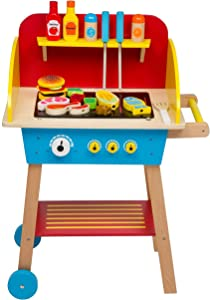Cook 'N Grill Wood Toy BBQ Set - Includes Pretend Play Wooden Barbeque Food and Barbecue Grilling Tools for Boys and Girls, More Than 30 Pieces
