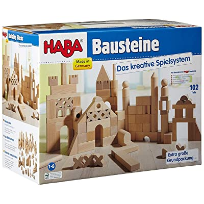 HABA Basic Building Blocks 102 Piece Extra Large Wooden Starter Set (Made in Germany): Toys & Games [5Bkhe0501621]