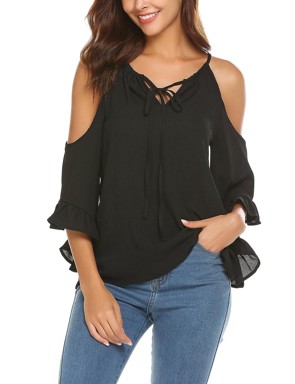 Parabler Damen Schulterfrei Chiffon Bluse V-Ausschnitt Cut Out Loose Fit Top T-Shirt