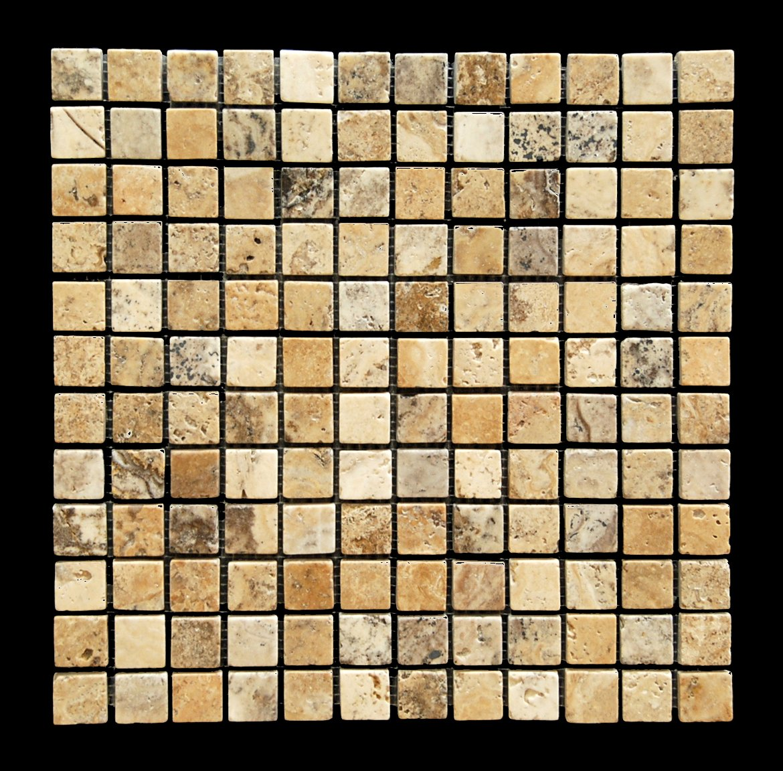 Philadelphia 1X1 Travertine Tumbled Mosaic Tile - Box of 5 sq. ft.