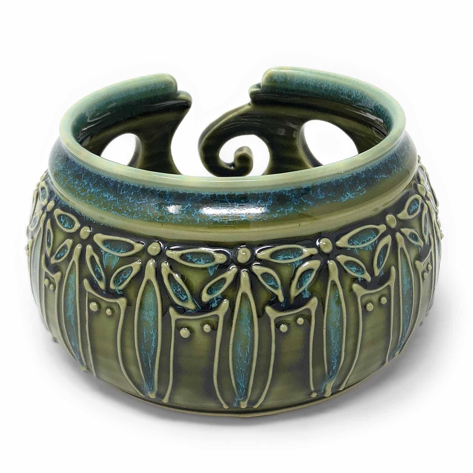 AshenWren Ceramics Yarn Bowl with Floral Slip Trailing, Emerald Green