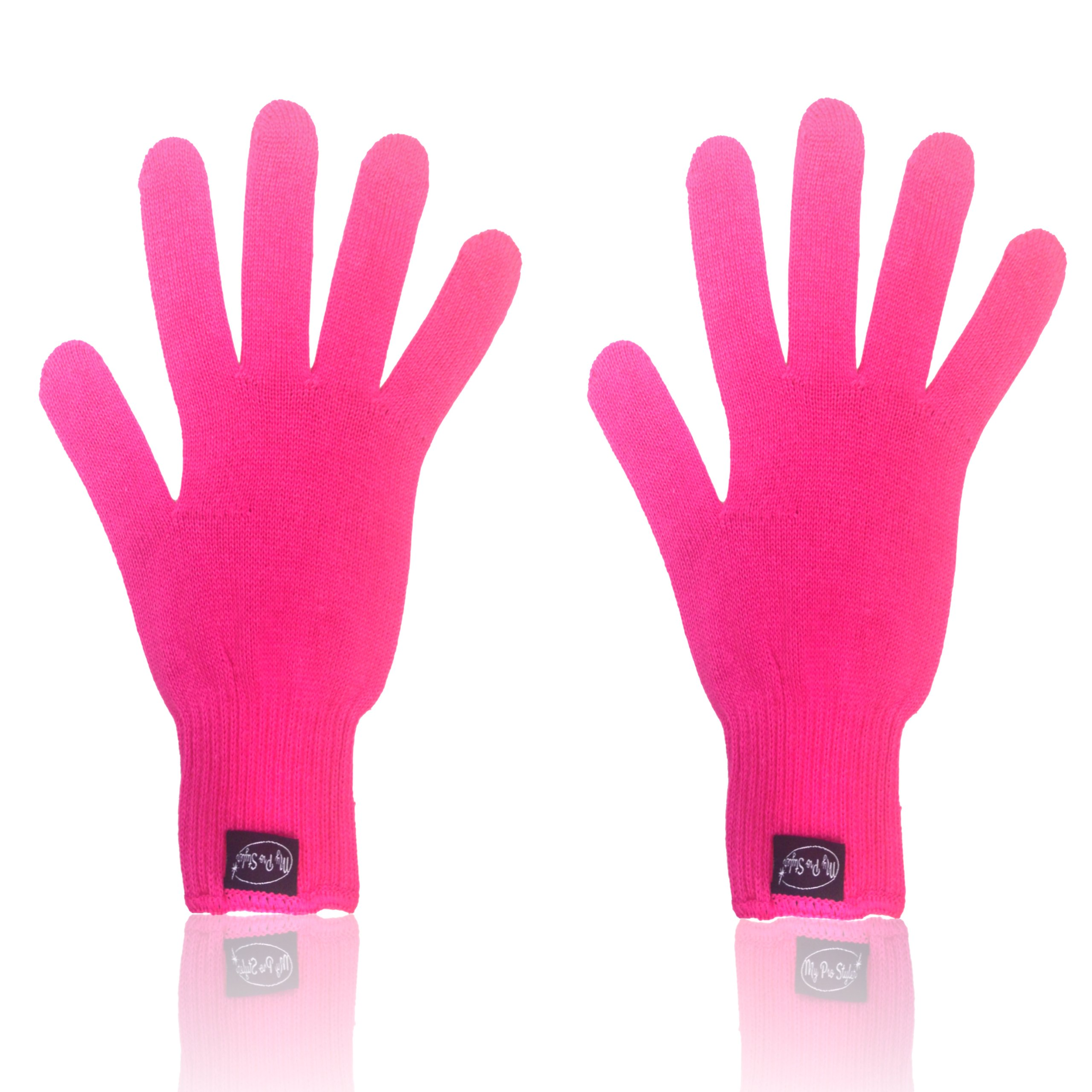 2 X PINK Heat Resistant Gloves for Flat/Curling Irons & Other Hot Hair Styling Tools By MyProStyler