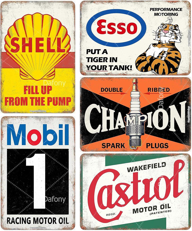 Auto Motorcycle Oil Gasoline Vintage Metal Signs Retro Poster Gasoline Garage Man Cave Bar Wall Decor 8 × 12 Inch - 5 PCS