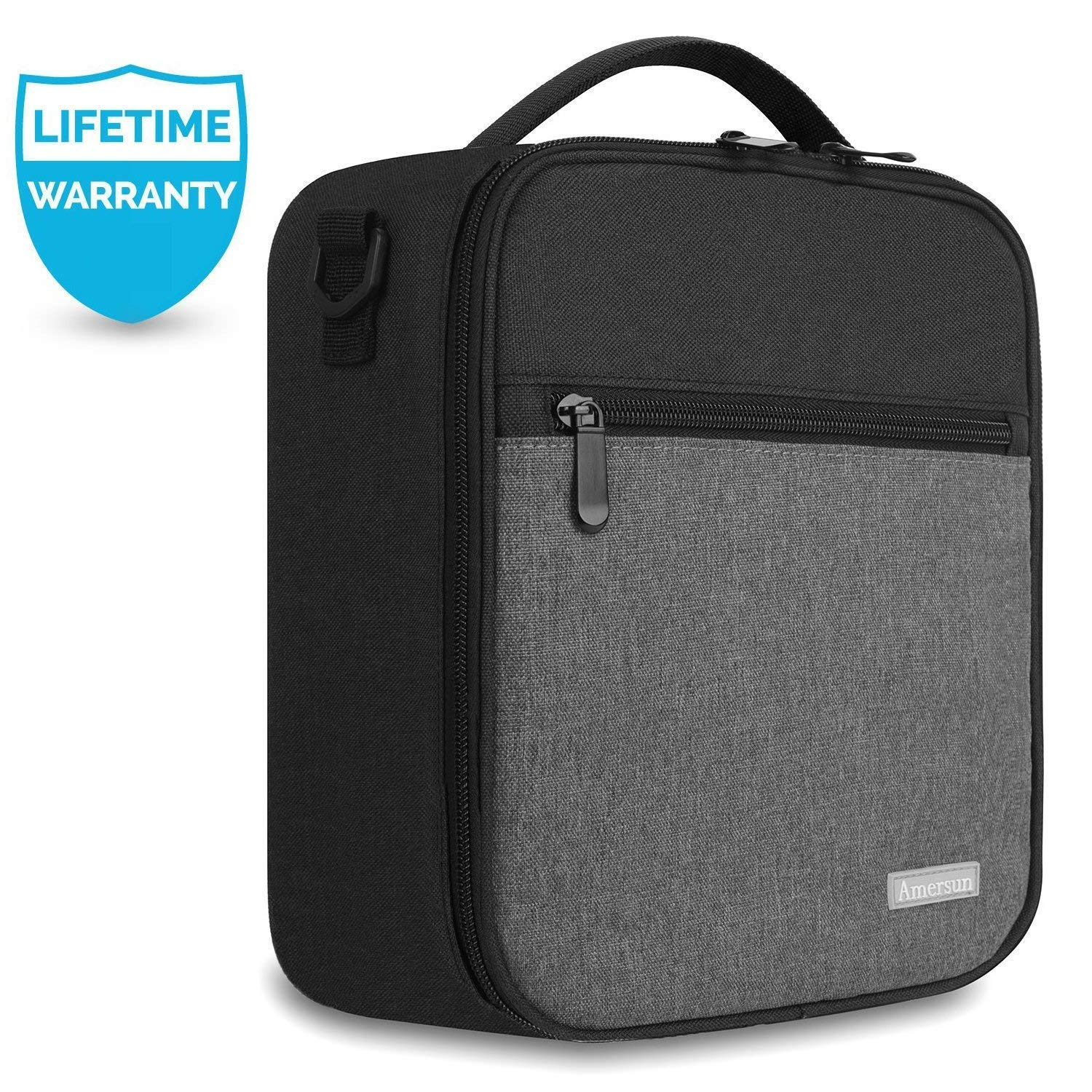 Lunch Bag with Firm Foil-BPA FREE,Amersun Reusable Insulated School Lunch Box Durable Thermal Lunch Cooler Pack with Strap for Kids Boys Men Women Girls Adults,Spill-resistant /& 2 Pockets Black Gray