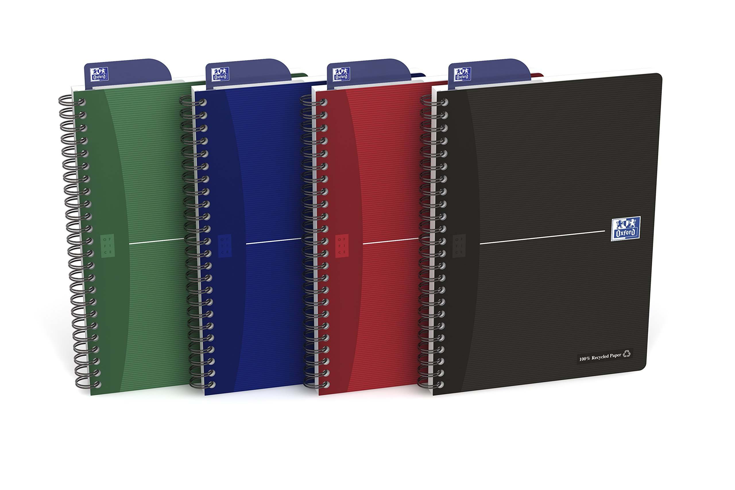 Oxford Office Recycle 100104311 Exercise Book Full Cover 180 Pages A5 Small Squares Assorted Pack of 5