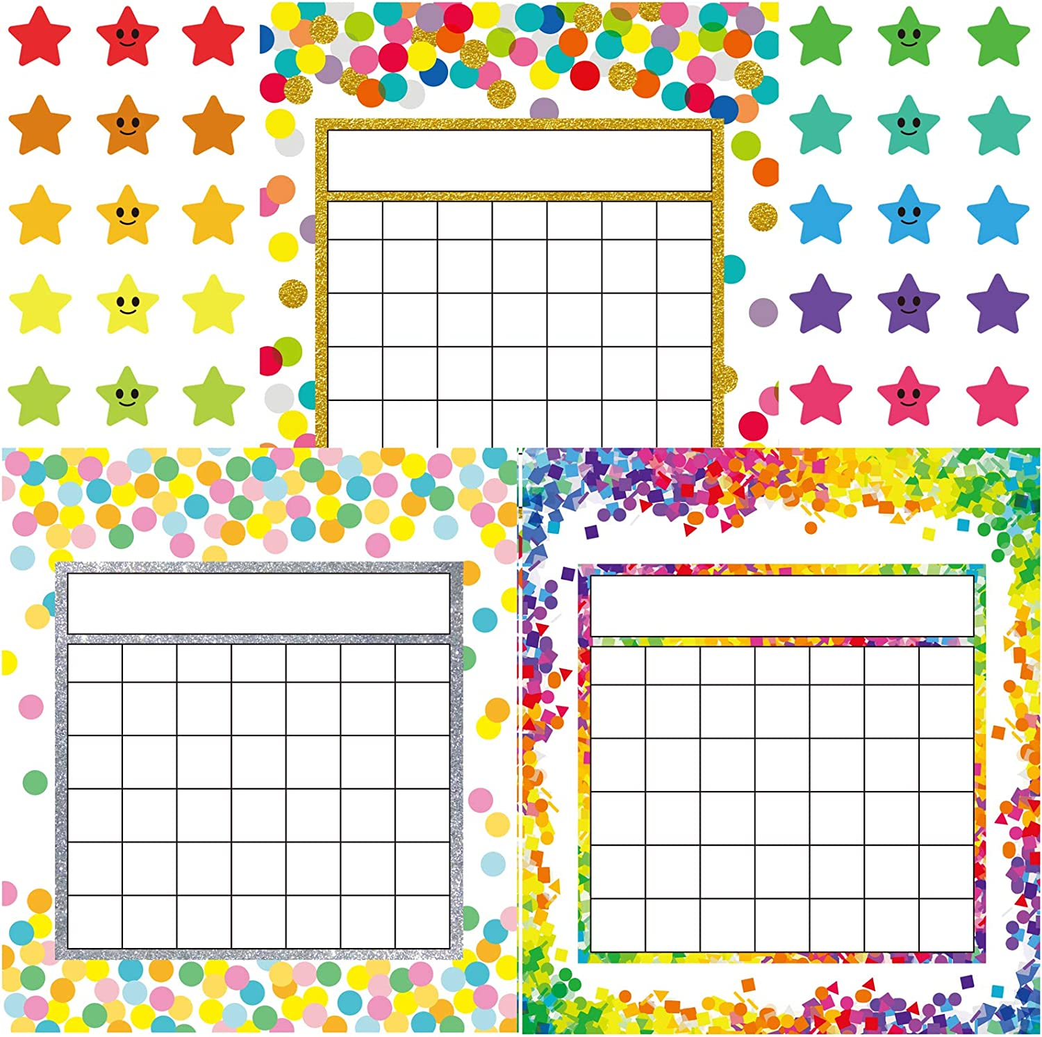 Youngever 81 Pack Classroom Incentive Chart in 3 Designs with 480 Star Stickers, Confetti Design