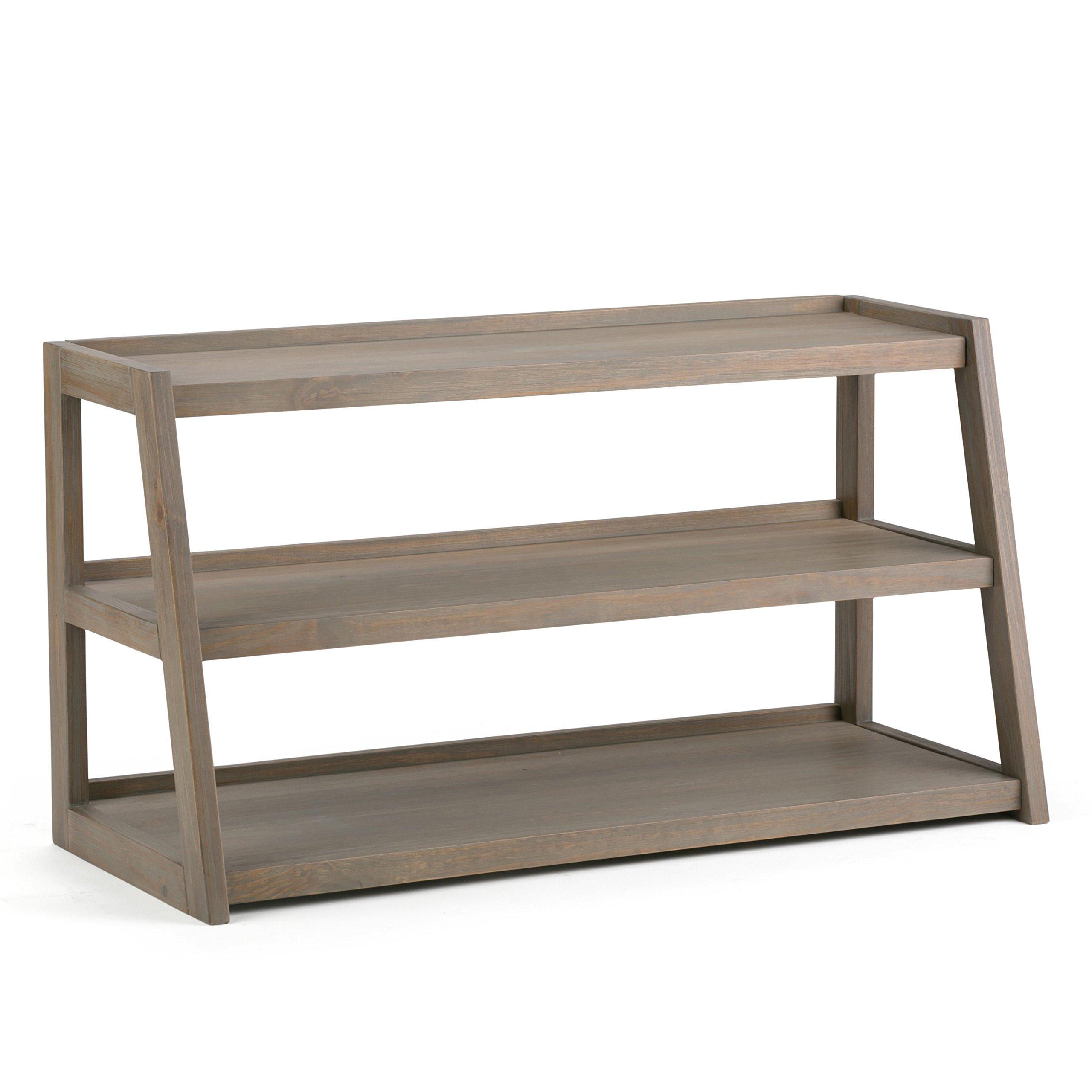 Simpli Home Sawhorse Solid Wood TV Media Stand, Distressed Grey