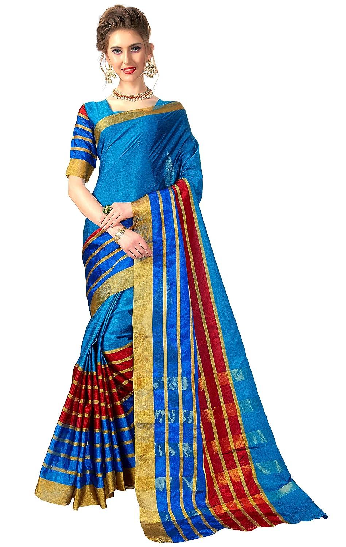 Glory Sarees Women's Banarasi Silk Saree (tant_saree102_blue_blue)