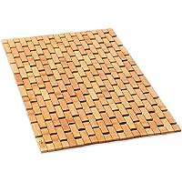 Natural Bamboo Wood Bath Mat: Wooden Door Mat/Kitchen Floor Rug - Bathroom Shower and Tub Mats