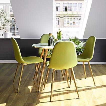 Innovareds Set Di 4 Sedie Moderne Per Sala Da Pranzo Con Gambe In Metallo A Imitazione Legno Colore Giallo Amazon It Casa E Cucina
