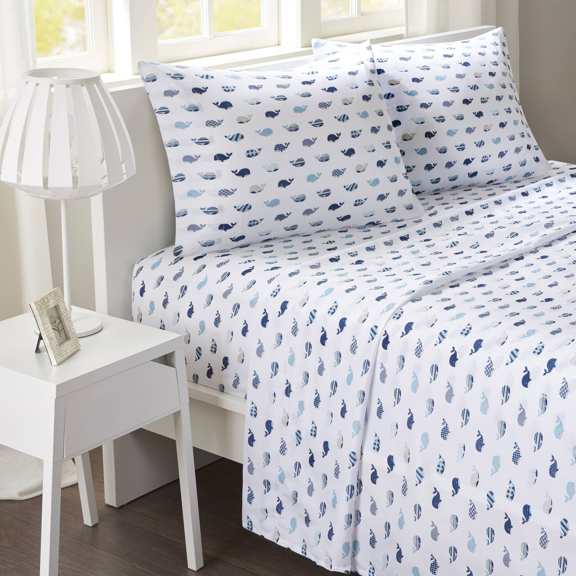 A&L 3 Piece Kids Blue Whale Sheet Set Twin, Light Blue Novelty Printed Bedding Sea Animal Print Bed Sheets White 85 Gsm Ultra Soft Delightful Elegant Luxurious Stylish Comfortable, Microfiber