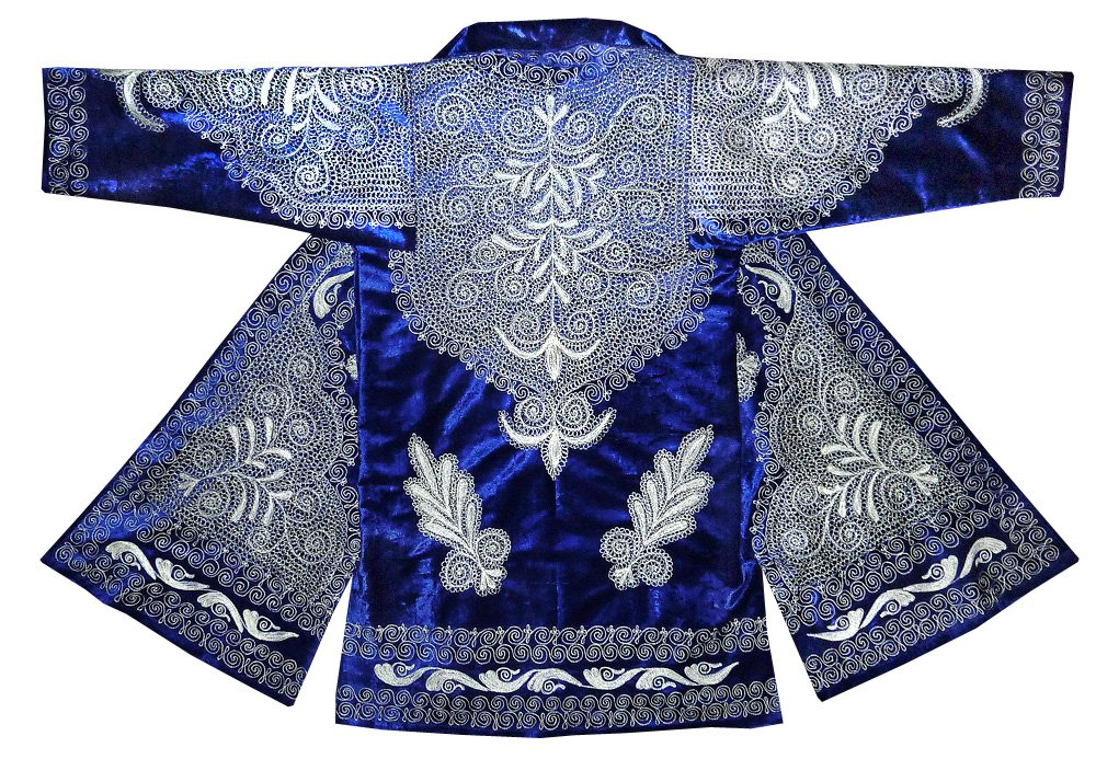 STUNNING UZBEK SILVER SILK EMBROIDERED ROBE CHAPAN FROM BUKHARA T549