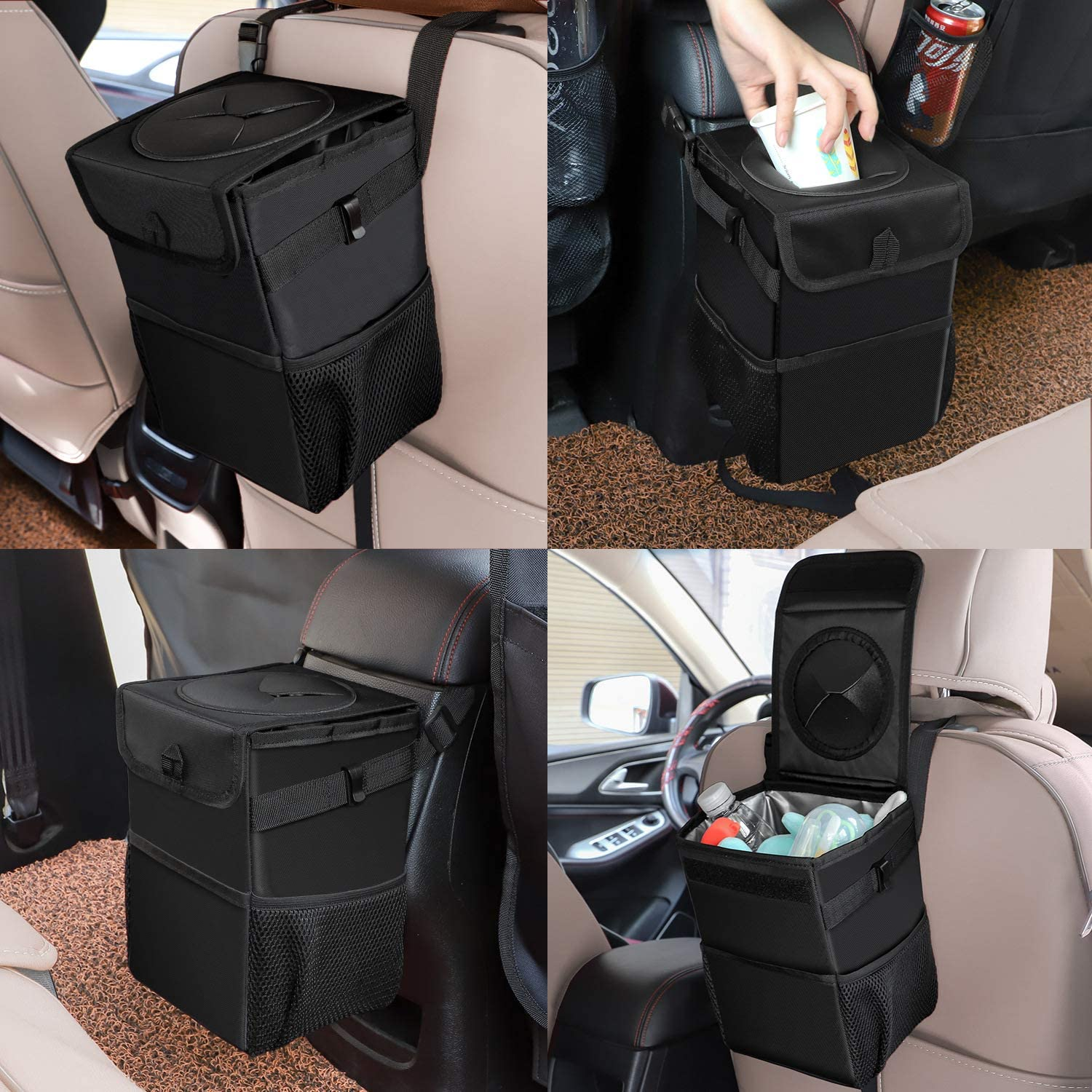Ryhpez Car Trash Can with Lid Car Trash Bag Hanging with Storage Pockets Collapsible and Portable Car Garbage Bin