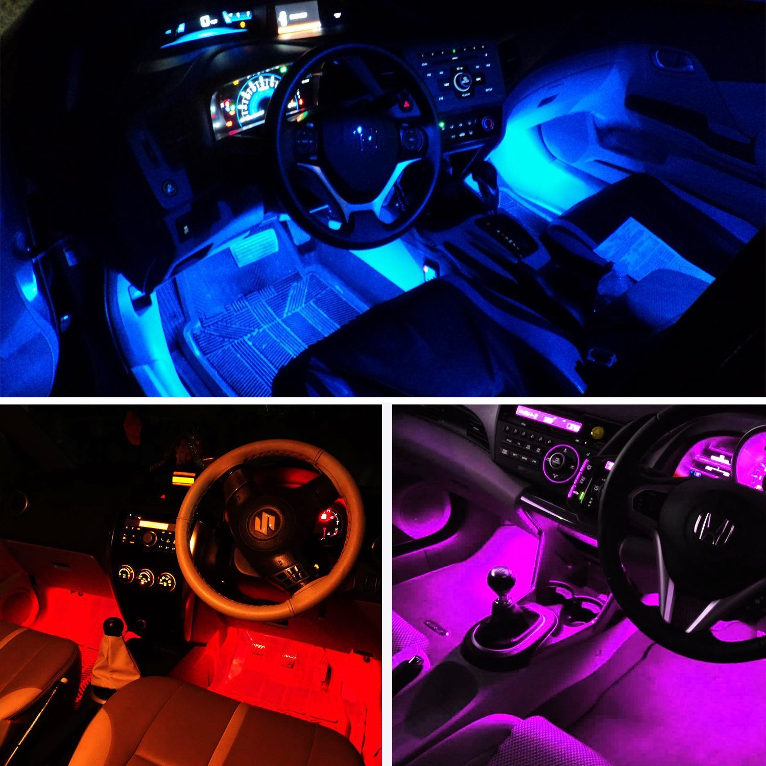 Adecorty ADCLS01 4pcs 48 LED Car LED Strip Light DC 12V Multicolor Music Car Interior Light LED Under Dash Lighting Kit with Sound Active Function and Wireless Remote Control Car Charger Included