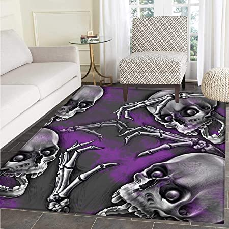Skull Rugs For Bedroom Scary Creepy Spooky Happy Smiling Skeleton With Boned Hand Artwork Print Circle Rugs For Living Room 4 X5 Purple Grey And Black Amazon Co Uk Kitchen Home