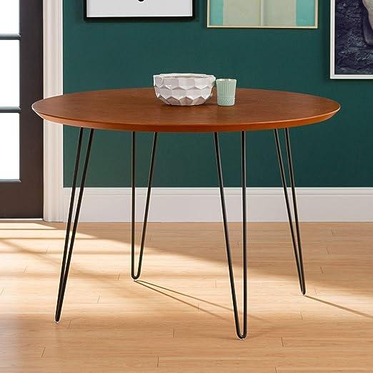 Amazon Com Walker Edison Furniture Company Mid Century Modern Wood Round Room Table Set Kitchen Dining Bench Rectangle Walnut Furniture Decor