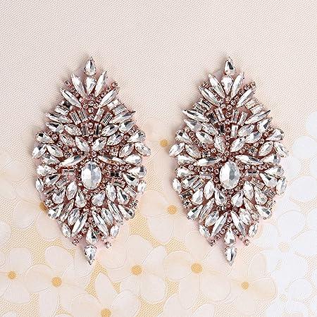 (2pieces) pequeño boda Rhinestone Appliques con cristales para novia cinturones nupcial novia Garters sombreros, plata, 4.1x1.3In …