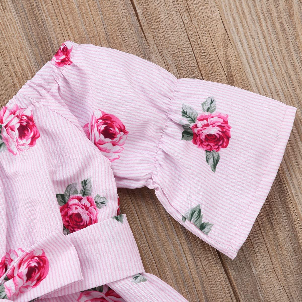 Aunavey Baby Girl Off The Shoulder Floral Romper Jumpsuits Casual Summer Clothing