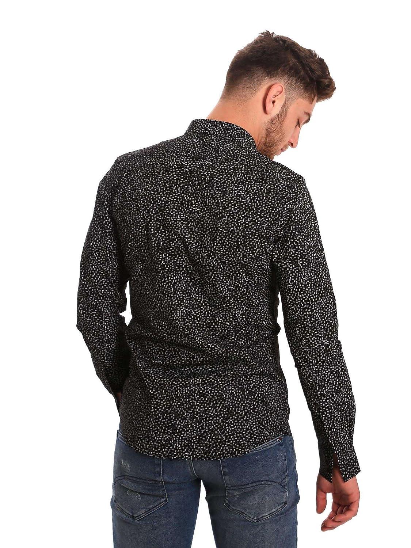 Antony Morato Mens Long-Sleeved Shirt MMSL00428-FA430302 Slim 46 Black s