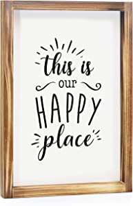 MAINEVENT This is Our Happy Place Sign - Rustic Farmhouse Decor for The Home Sign - Wall Decorations for Living Room, Modern Farmhouse Wall Decor, Rustic Home Decor with Solid Wood Frame - 11x16 Inch