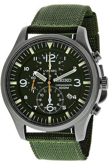 Seiko SNDA27P1, cronógrafo de Hombre, Estilo Militar, Acero Inoxidable, Correa de Tela, 100 m WR, snda27: Amazon.es: Relojes