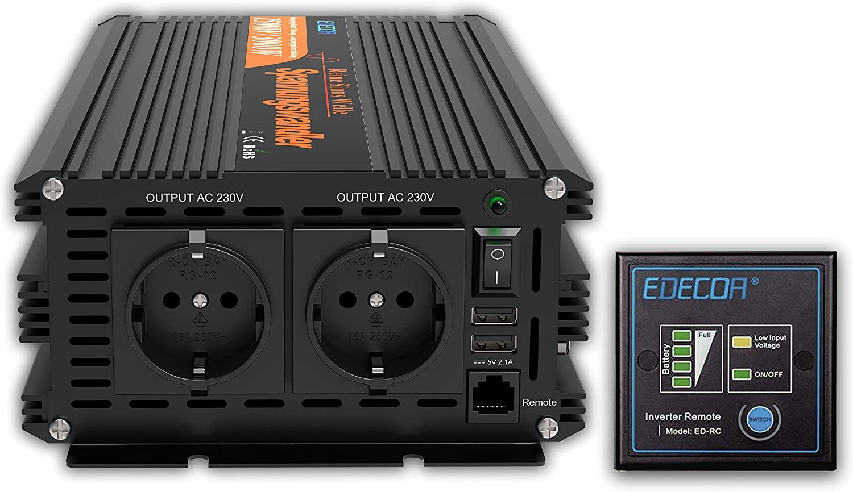 EDECOA Transformador 24v 220v ONDA PURA 2500w Convertidor para camion con mando a distancia y 2x USB Inversor 24v 230v Power inverter 2500w pico 5000w