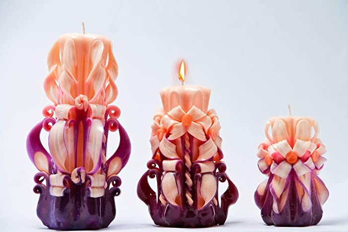 Christmas Gift Exchange Ideas For Big Families.Amazon Com Small Middle Large Hand Carved Candles Candles