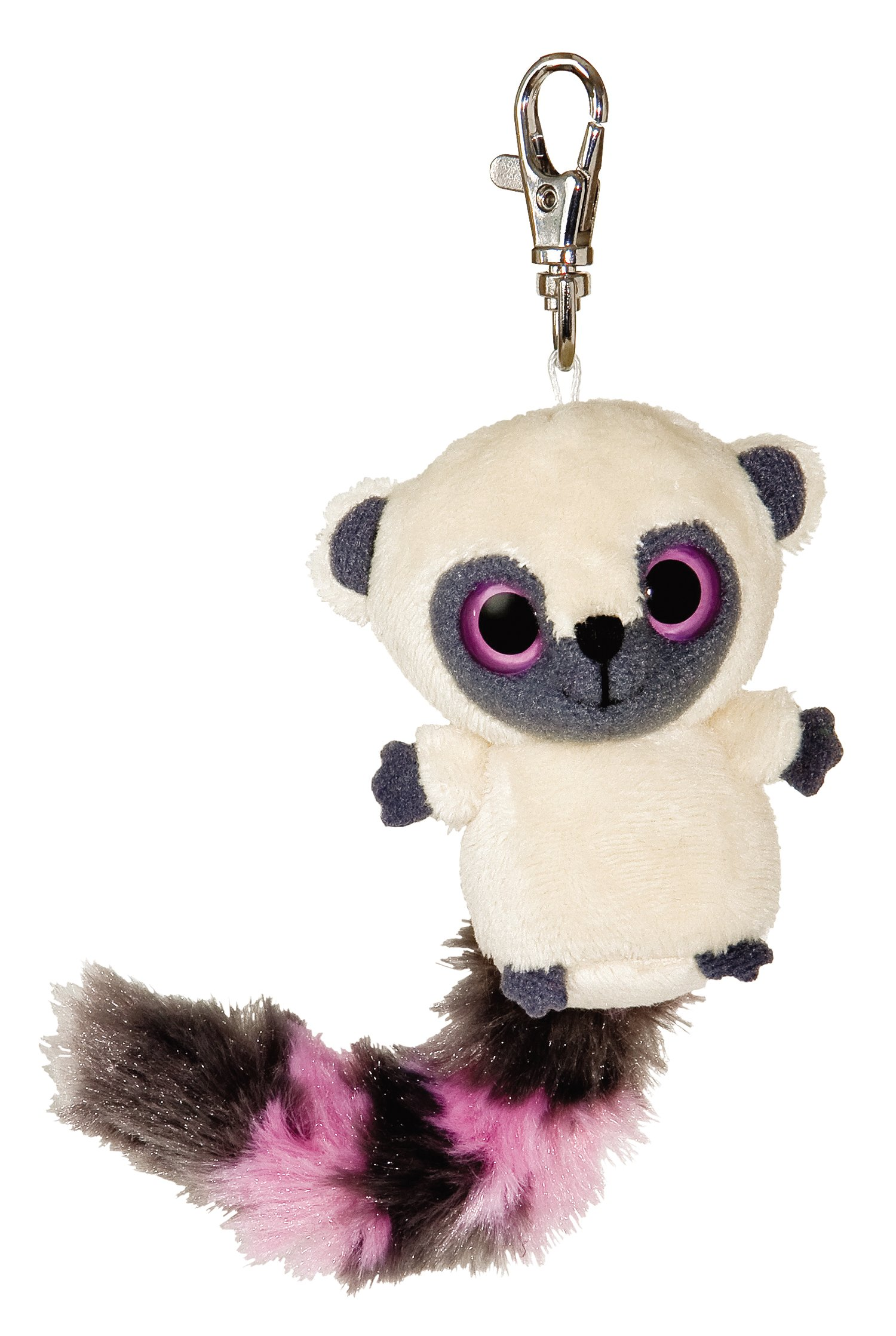 Aurora 3'' Yoohoo Bush Baby Raccoon with Pink Clip-On Keyclip Small Soft Plush Keychain