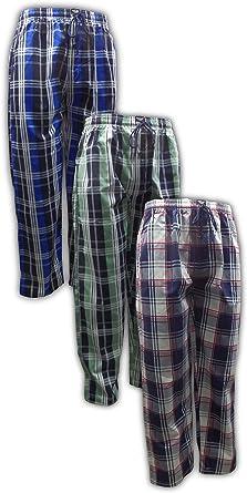 American Active Pack de 3 para hombre algodón Lounge dormir Pijama Pantalones De Cordón: Amazon.es: Ropa y accesorios
