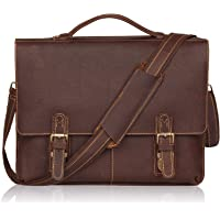 """Jack&Chris Leather 15.6"""" Briefcase Twin BuckleMen's Messenger Bag MB002-600 (Red Brown)"""