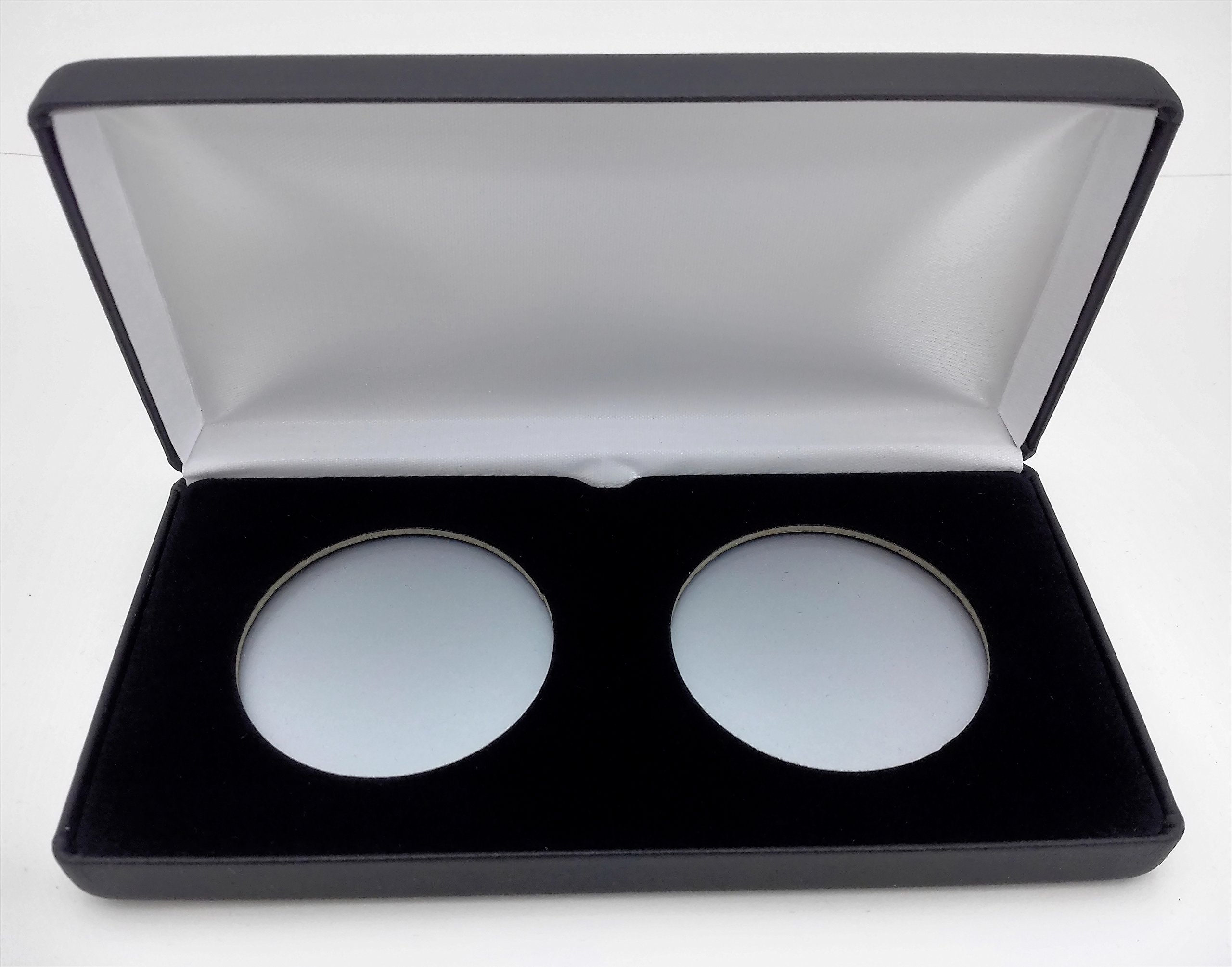(1) Air-Tite Black Leatherette Coin Presentation Case (Holds 2) for Air-Tite Brand Coin Holder Capsules (Model ''X'' Case)