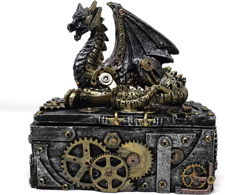 Flame - Caja metálica de dragón de Steampunk para joyería: Amazon.es: Hogar