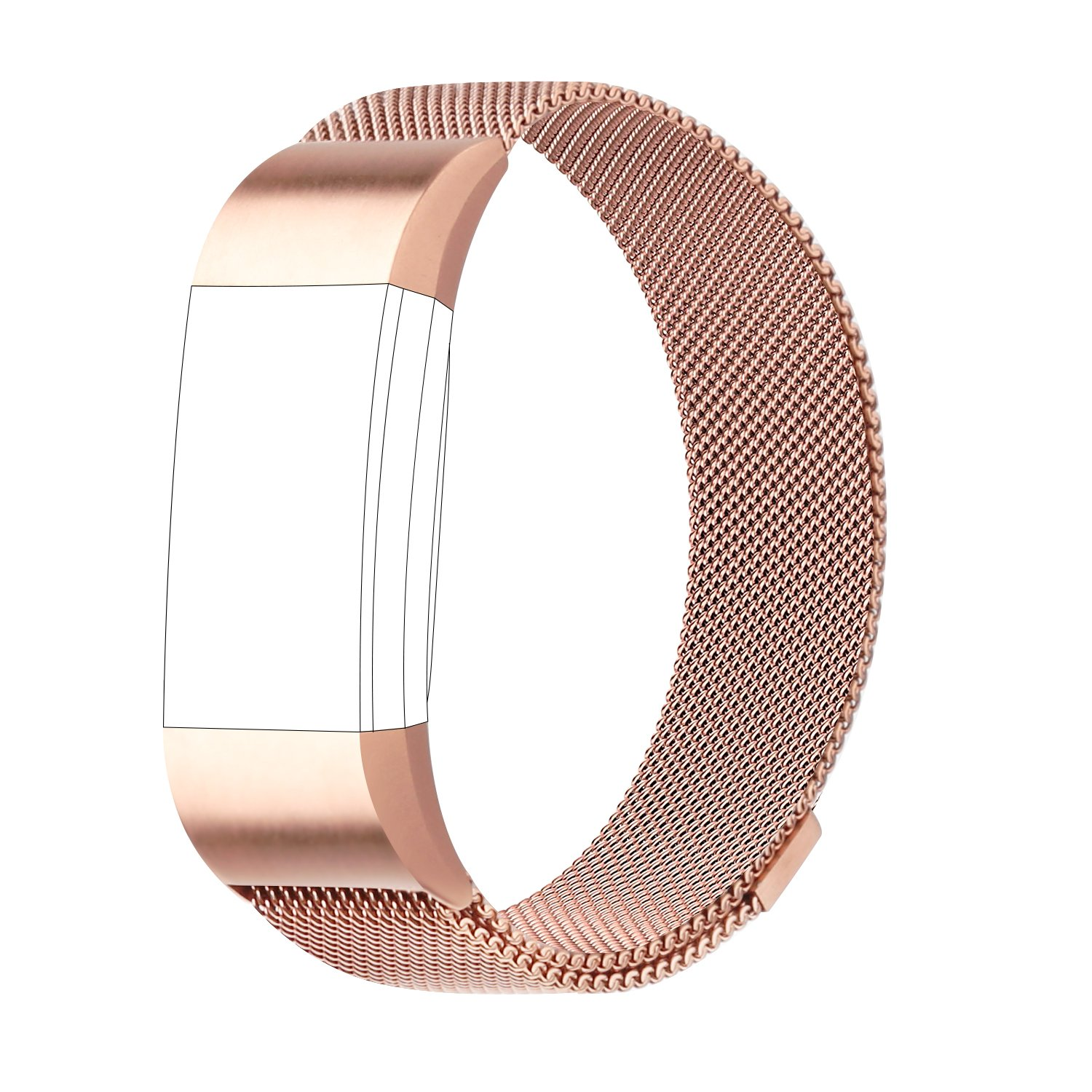 POY For Fitbit Charge 2 Bands, Milanese Loop Stainless Steel Bracelet Smart Watch Strap with Unique Magnet Lock for Fitbit Charge 2 Replacement Wristbands Large Small