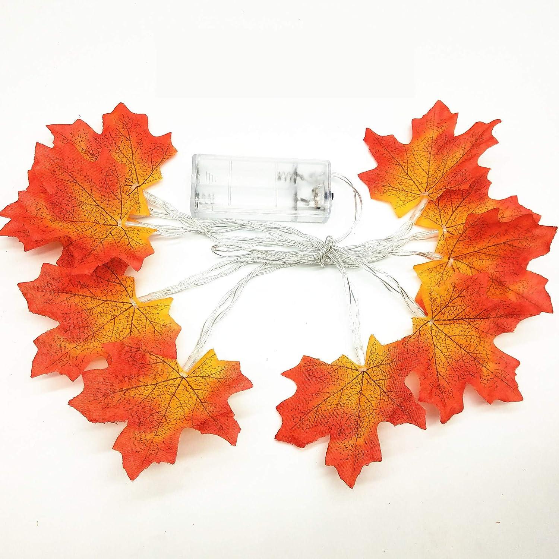 Fall Maple Leaf String Lights 9.8 Ft 20 LED 3AA Battery  Fall Leaves Fairy Light