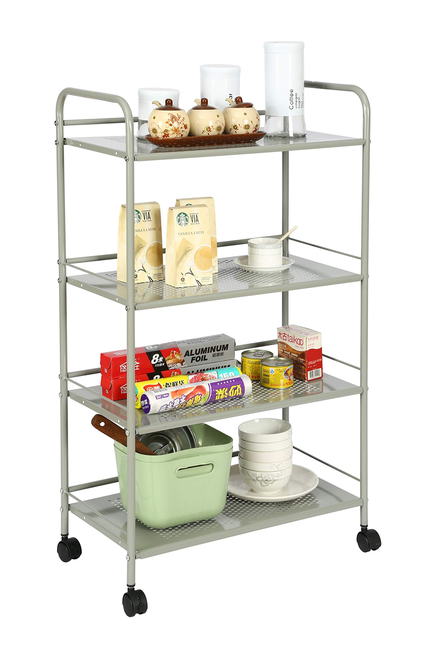 Homebi Kitchen Trolley Rolling Cart Metal Storage Rack Shelving Units for Cooking Utensils and Food Storage with Wheels (4-Tier)
