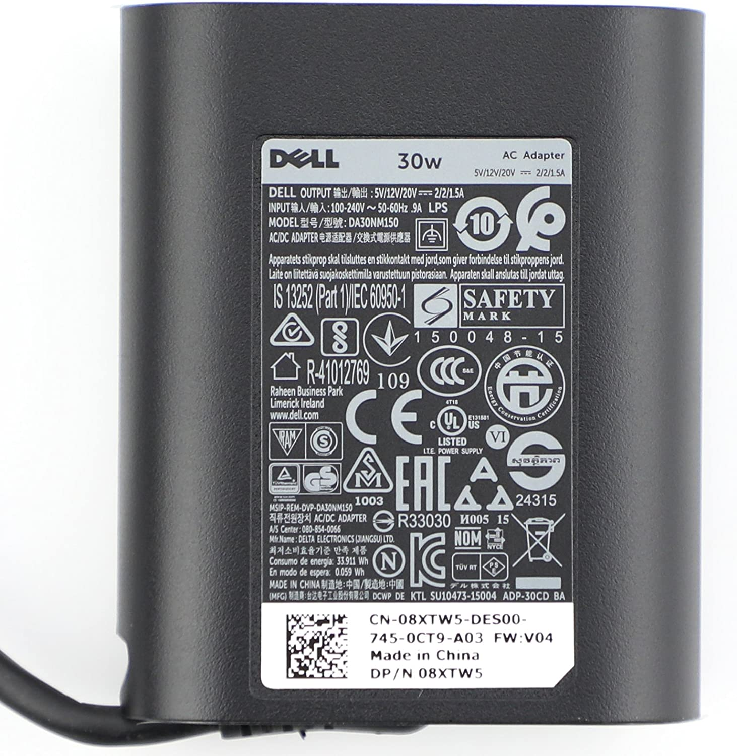New Original Dell 30W USB-C(Type C) AC Adapter, Power Supply Charger for Dell XPS12(9250),Dell Latitude 7275 5175 Venue 8 (5855)